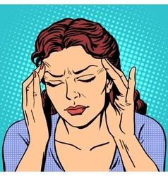 Headache health medicine woman vector image