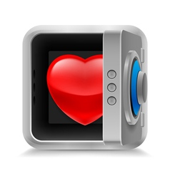 Heart in safe vector