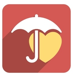 Heart Umbrella Protection Flat Rounded Square Icon vector
