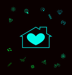 House with heart symbol graphic elements for vector