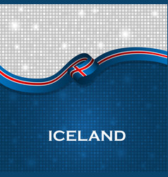 Iceland flag ribbon shiny particle style vector