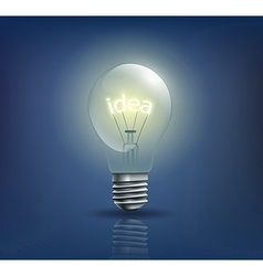 Incandescent light bulb with the word idea instead vector
