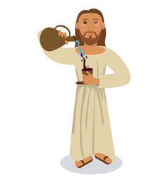Jesus christ conviert water wine symbol vector