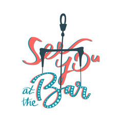 Kitesurfing bar lettering handwriting print design vector