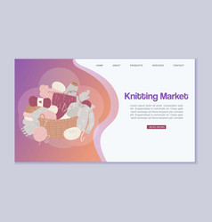 Knitting and knitwear market web page with threads vector