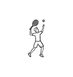 man playing big tennis hand drawn outline doodle vector image