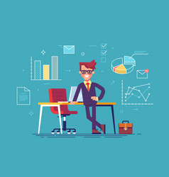 Man with business icons on background vector