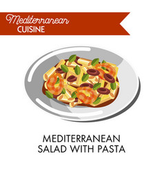 Mediterranean salad with pasta and greenery on vector