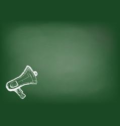 Megaphone or loudspeaker drawing on blackboard vector