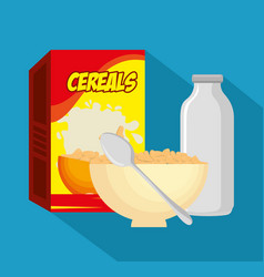 milk with cereal healthy food vector image