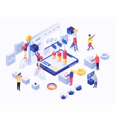 modern flat isometric concept of web development vector image