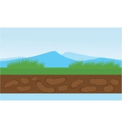 Moountain and grass scenery vector