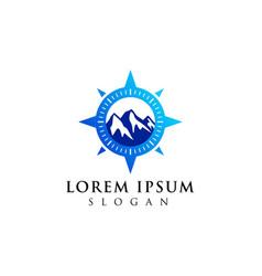 Mountain adventure logo design compass icon symbol vector