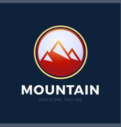mountain logo design red circle design vector image