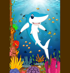 ocean view with the big dashing blue shark vector image