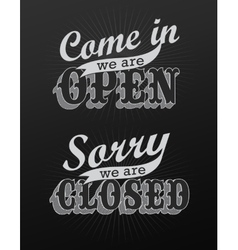 Open and Closed Vintage retro signs vector image