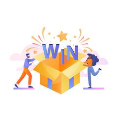 open box win textured with confetti explosion vector image