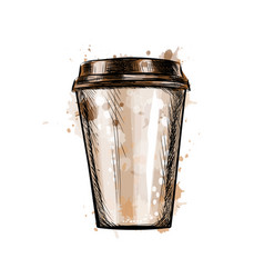 Paper coffee cup from a splash of watercolor vector