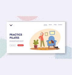 Pensioner practice pilates landing page template vector