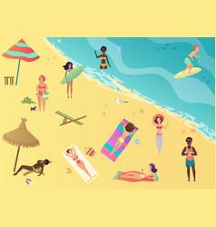 people at beach sunbathing talking surfing vector image