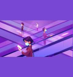 people in medical masks on escalators in mall vector image