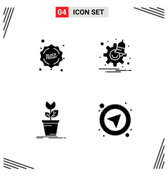 Pictogram set 4 simple solid glyphs of vector