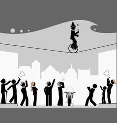 pictograph scene looking up and gesturing vector image