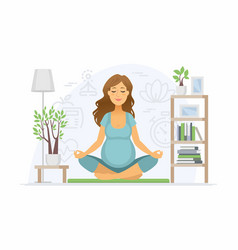 Pregnancy yoga - modern cartoon people vector