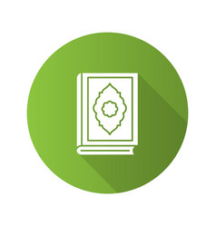 Quran book flat design long shadow glyph icon vector