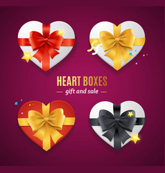 realistic detailed 3d heart present boxes template vector image