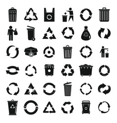 Recycling icons set simple style vector