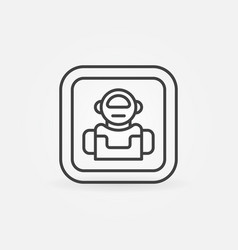 Robot minimal icon in thin line style vector