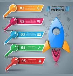 rocket key - 3d business infographic vector image