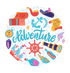 round shape adventure symbols set with hand vector image