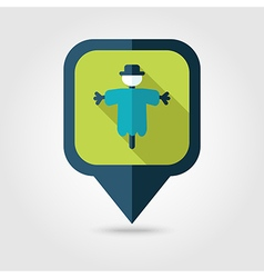 Scarecrow flat pin map icon Map pointer vector