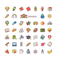 School icons set vector