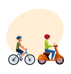 Scooter and bicycle riders drivers riders vector