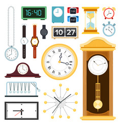 set clock and watch flat vector image
