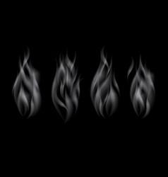 set delicate realistic cigarette smoke waves vector image