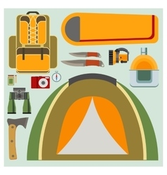 set flat camping elements vector image