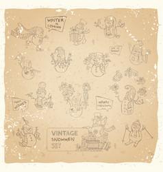 set of cute snowmen on vintage background vector image