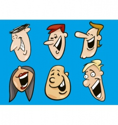 set of funny faces vector image