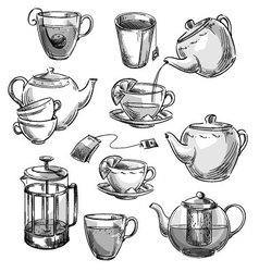 Set of tea cups and teapots vector