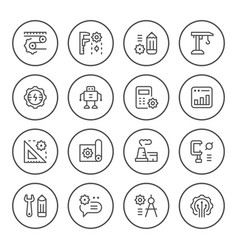set round line icons of engineering vector image