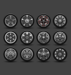 Set wheels with disks and rubber vector