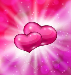 Shimmering background with beautiful hearts vector