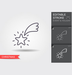 shooting star line icon with editable stroke with vector image