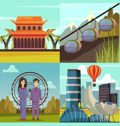 Singapore landmarks 4 orthogonal icons vector