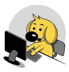 Smart Dog with Computer vector image