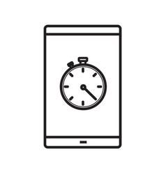 smartphone stopwatch app linear icon vector image